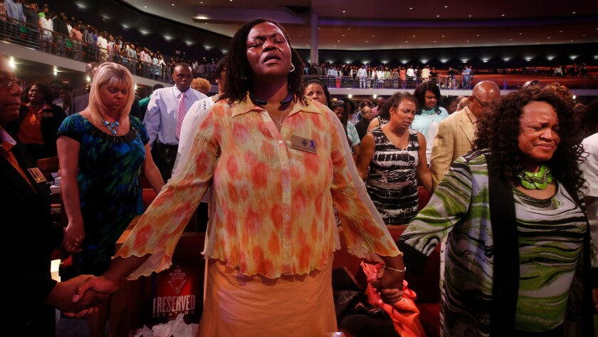 Worshipers at the Potter's House church in Dallas.
