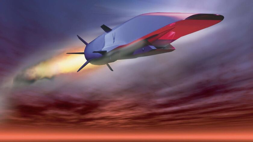 An Air Force illustration of the X-51A Waverider, which is designed to ride on its own shockwave and accelerate up to about Mach 6.