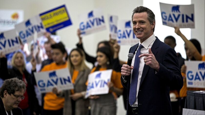 SAN DIEGO, CA - FEBRUARY 24: Gubernatorial candidate Gavin Newsom at the 2018 California Democrats S