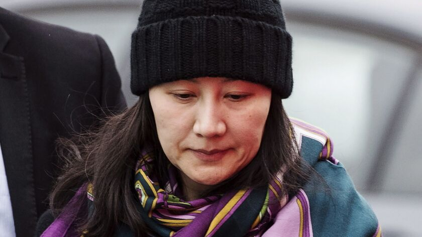 FILE - In this Dec. 12, 2018, file photo, Huawei chief financial officer Meng Wanzhou arrives at a p