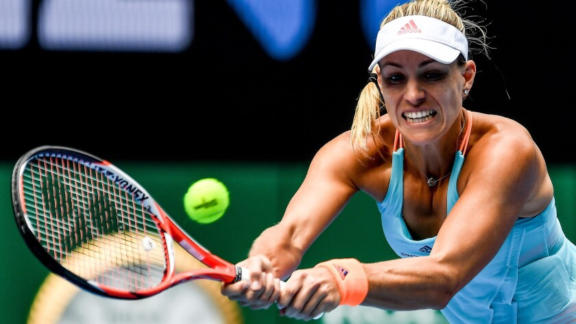 Angelique Kerber returns a shot against Kristyna Pliskova during their third-round match at the Australian Open on Friday.