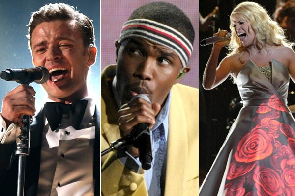 """Justin Timberlake, Frank Ocean, Carrie Underwood and dozens more performed during the 55th Grammy Awards show at the Staples Center in Los Angeles on Feb. 10, 2013. The quirky New York City band Fun. took the best new artist award, and song of the year for """"We Are Young."""" Other winners announced during the star-studded event included folk act Mumford & Sons, for album of the year (""""Babel""""), and Gotye for record of the year (""""Somebody That I Used to Know""""). Here are some highlights from the show."""