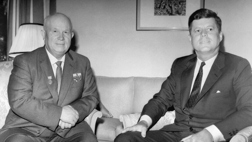 Nikita Khruschev and John F. Kennedy in a scene of the documentary movie JFK: A PRESIDENT BETRAYED.