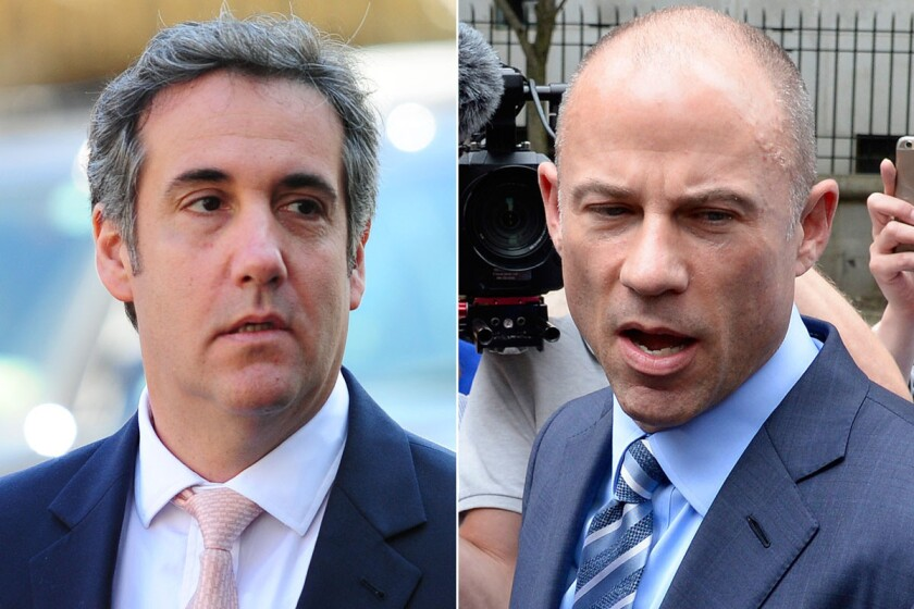 Michael Cohen (l.) fears his chances of a fair trial could be hurt by Michael Avenatti's (r.) interviews with the media.
