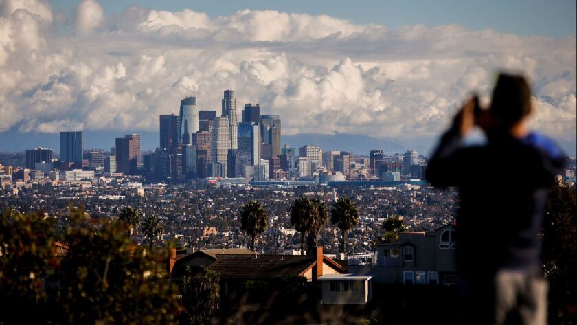 Downtown L.A., seen from the Kenneth Hahn State Recreation Area.