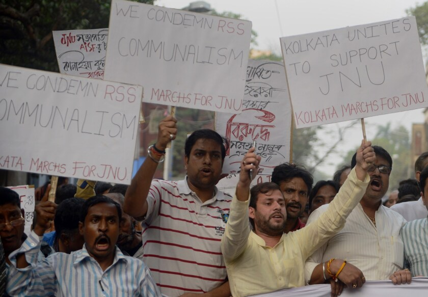 Indian Congress and leftist activists shout slogans against the ruling Bharatiya Janata Party government during a joint protest against the arrest of a student from Jawaharlal Nehru University in Kolkata on Feb. 15.