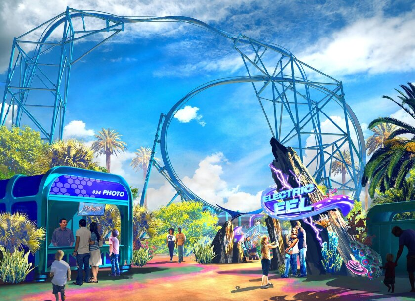 An artist's rendering of the Electric Eel coaster that SeaWorld San Diego plans to open in 2018.