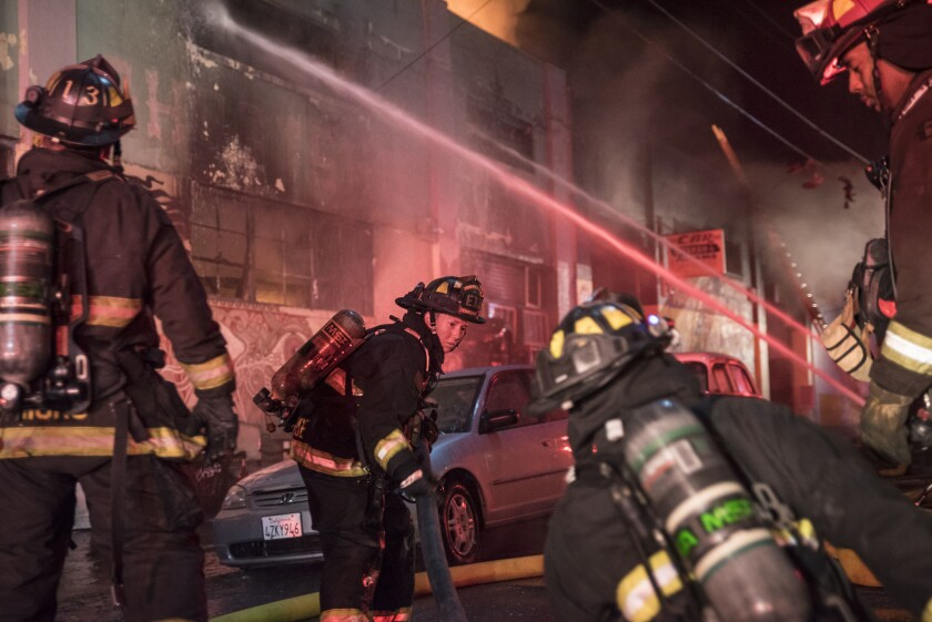 Firefighters battle a warehouse fire in Oakland thatclaimed the lives of 36 peopleduring a concert.