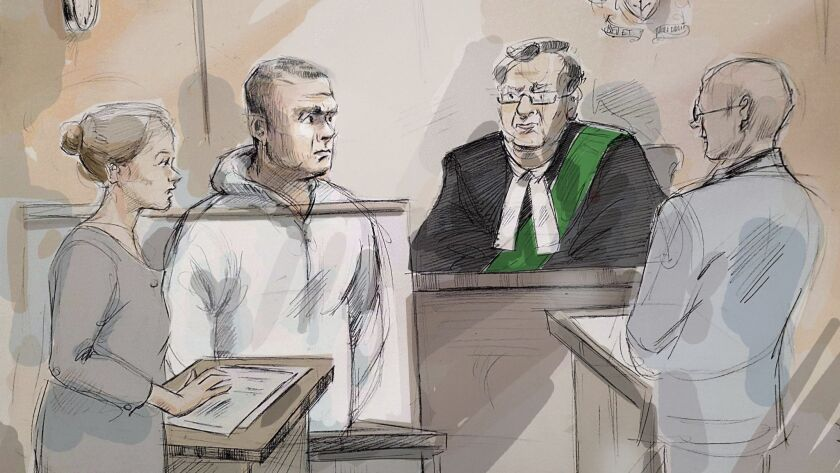 In this courtroom sketch, Duty counsel Georgia Koulis, from left, Alek Minassian, Justice of the Pea