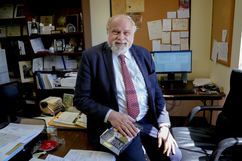Law professor Bob Fellmeth shown at his office at the USD campus, October 2019.