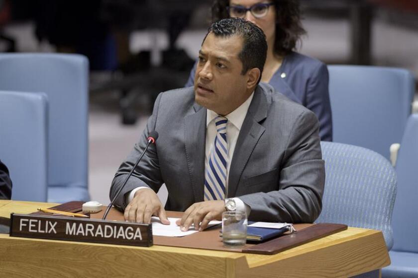 Fotografía cedida por la ONU donde aparece el líder de la sociedad civil, el académico nicaragüense Félix Maradiaga, durante su intervención ante el Consejo de Seguridad sobre la situación en su país el pasado 5 de septiembre de 2018, en la sede del organismo en Nueva York (EE.UU.). EFE/Manuel Elias/ONU/SOLO USO EDITORIAL/NO VENTAS
