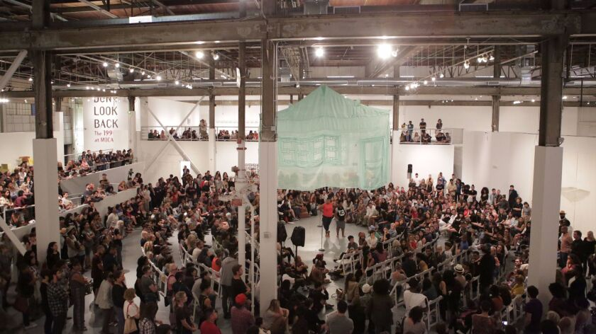A gathering led by Black Lives Matter organizers at MOCA in Los Angeles in July drew hundreds of participants.