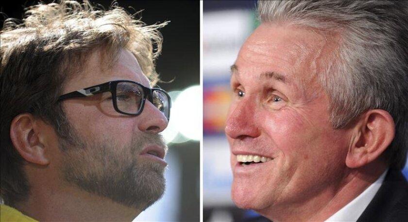 Combo de fotografías de archivo que muestran al técnico del Bayern Munich, Jupp Heynckes y su colega del Borussia Dortmund, Juergen Klopp (i). EFE/Archivo
