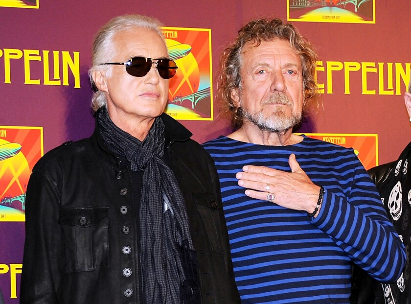 Jimmy Page, left, and Robert Plant appear at a news conference in London in 2012.