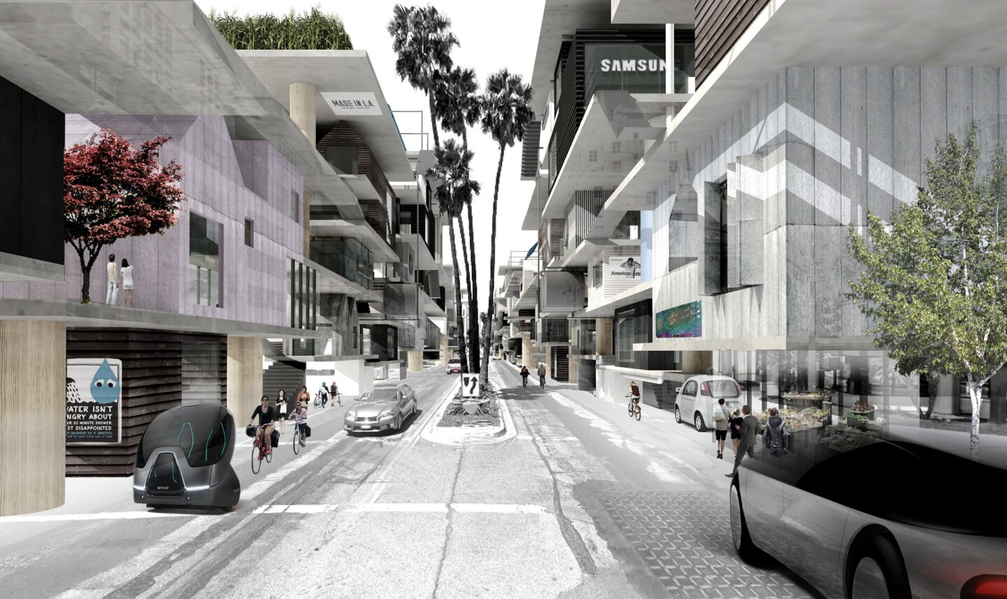 Architects show a range of ideas for the future L.A. at the A+D Museum's exhibition 'Shelter.' Kulapat Yantrasast and the team at wHY Architecture presented a concept called 'Unfolding Wilshire,' in which they added ribbons of multi-level structures to the city's famed thoroughfare.