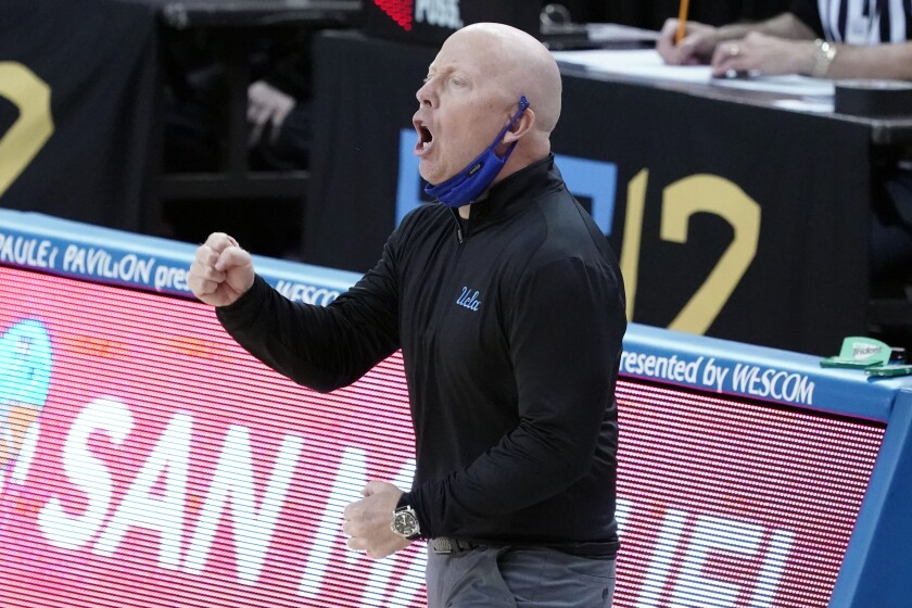 UCLA coach Mick Cronin shouts instructions to his players during Thursday's win over Utah at Pauley Pavilion.