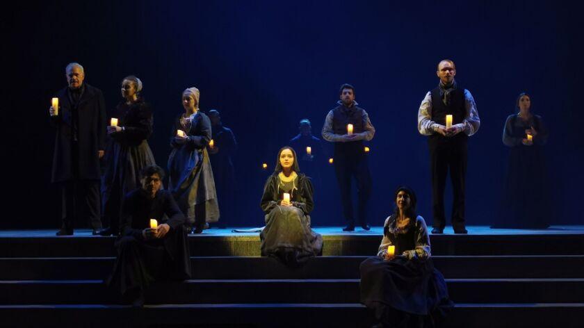 "LOURDES, France Ð JUNE 18, 2019: The cast for the musical ""Bernadette de Lourdes"" rehearse for the Û"
