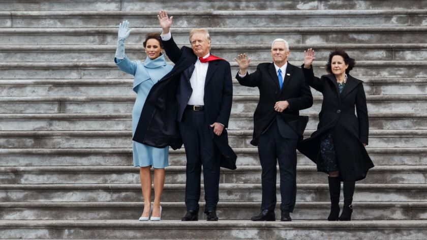 The Trumps and Pences wave goodbye to the Obamas on President Trump Inauguration Day