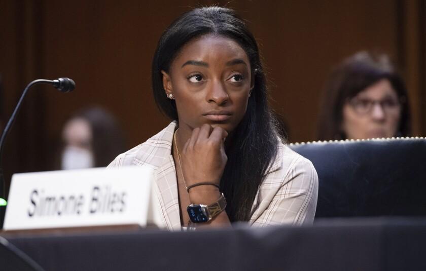 United States Olympic gymnast Simone Biles testifies during a Senate Judiciary hearing.