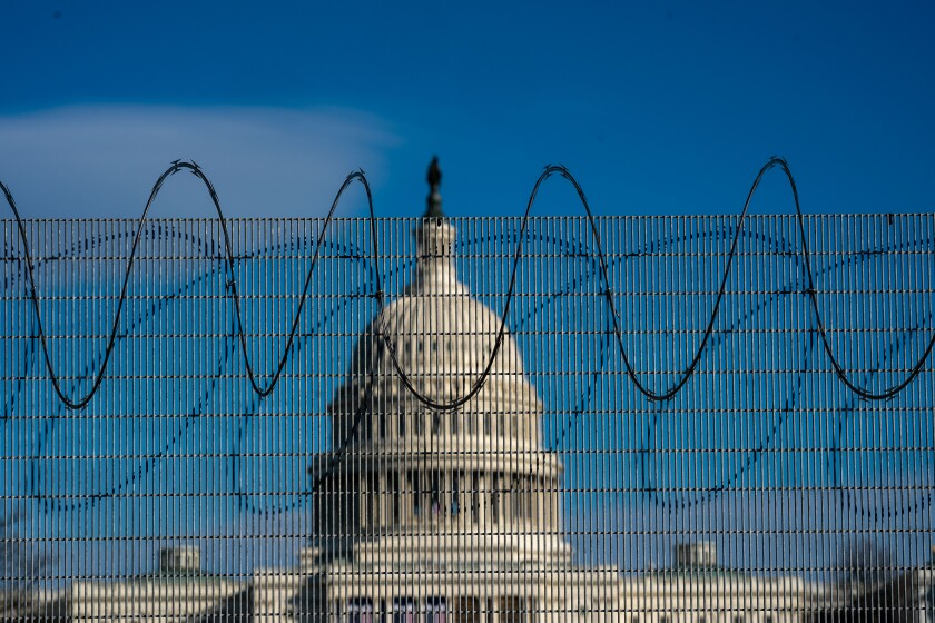 Fencing and razor wire is still up around the U.S. Capitol complex