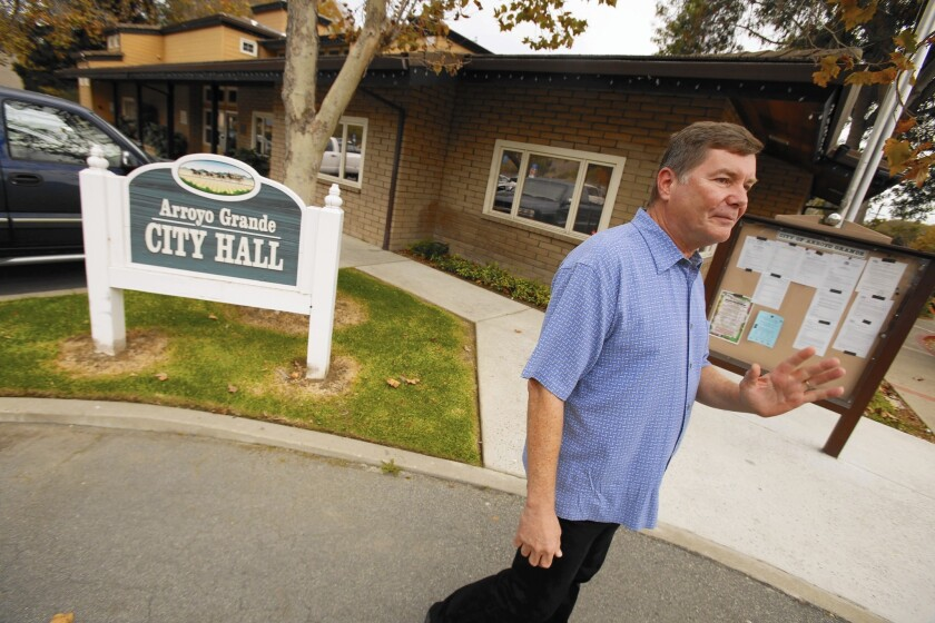 Jim Hill, a nuclear power plant engineer who campaigned just one day a week, defeated Arroyo Grande Mayor Tony Ferrara, who had held the seat since 2002. Hill's election came amid a titillating scandal that pitted the city manager against an angry police union.