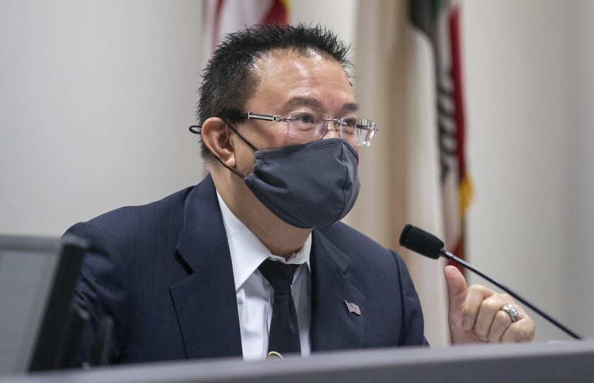 Michael Vo, shown speaking during an Aug. 18 Fountain Valley City Council meeting, will serve his third term as mayor.