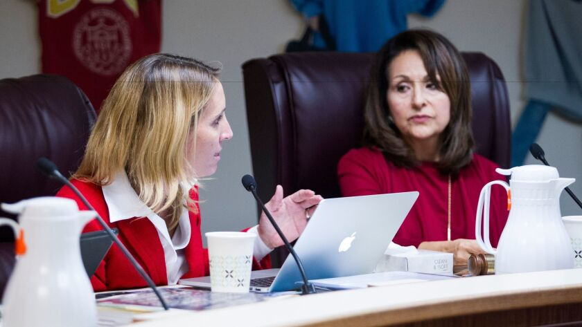 National City Superintendent Leighangela Brady gives the details of the case concerning Beacon Classical Academy during Wednesday night's board meeting.