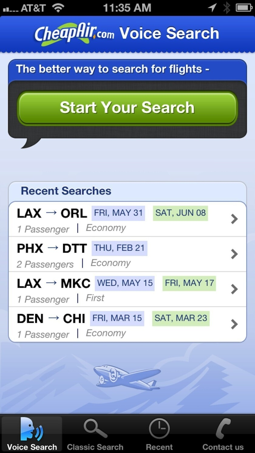 New iPhone app lets you speak your flight searches