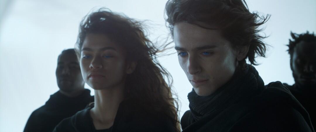 "Zendaya as Chani and Timothée Chalamet as Paul Atreides in ""Dune."""