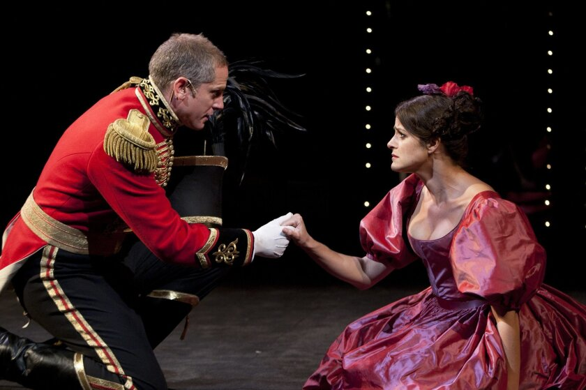 """Jonno Roberts and Georgia Hatzis in the Old Globe's """"Much Ado About Nothing."""""""