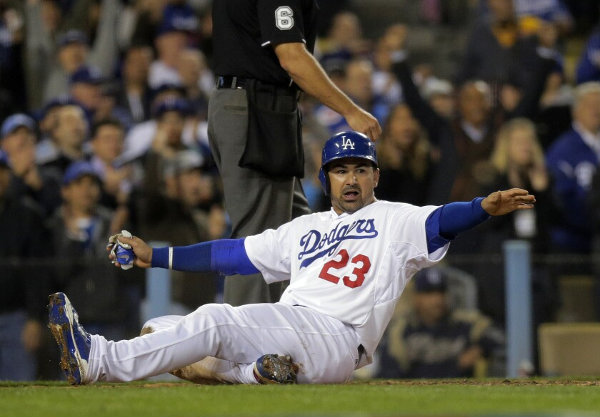 The Los Angeles Dodgers' 2015 season got off to a bumpy start in the TV ratings on the team's SportsNet LA cable channel. Dodgers first baseman Adrian Gonzalez, who's off to a hot start, is seen scoring a run Tuesday against the Padres at Dodger Stadium.