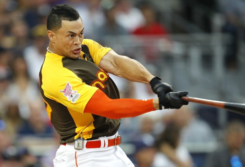 Miami Marlins Giancarlo Stanton won the All Star Game Home Run Derby at Petco Park.