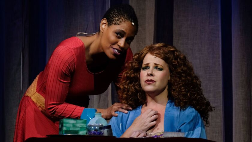 """Daebreon Poiema, left, as Aida and Bets Malone as Amneris in Moonlight Stage Productions """"Aida"""" at t"""