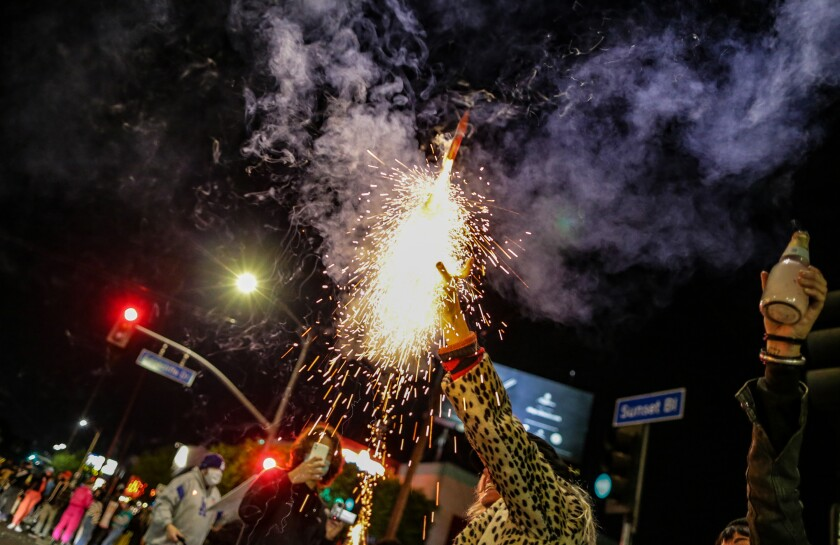 Erica Clum sets off fireworks  after Joe Biden is announced as the President-elect of the United States.