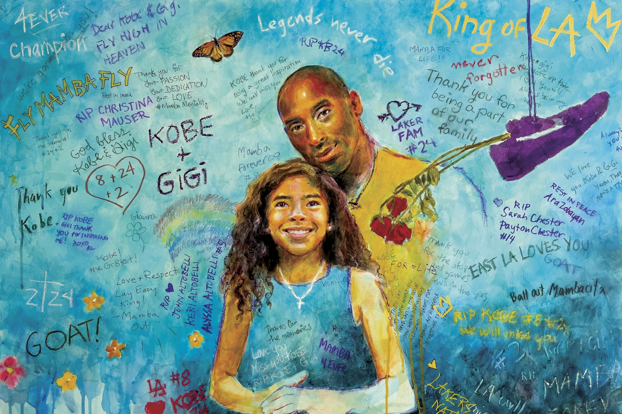 Portrait illustration of Kobe and Gianna Bryant.