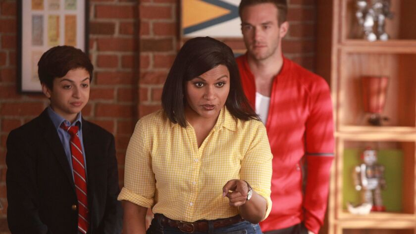 "J.J. Totah, left, Mindy Kaling and Andy Favreau in NBC's new comedy ""Champions."""