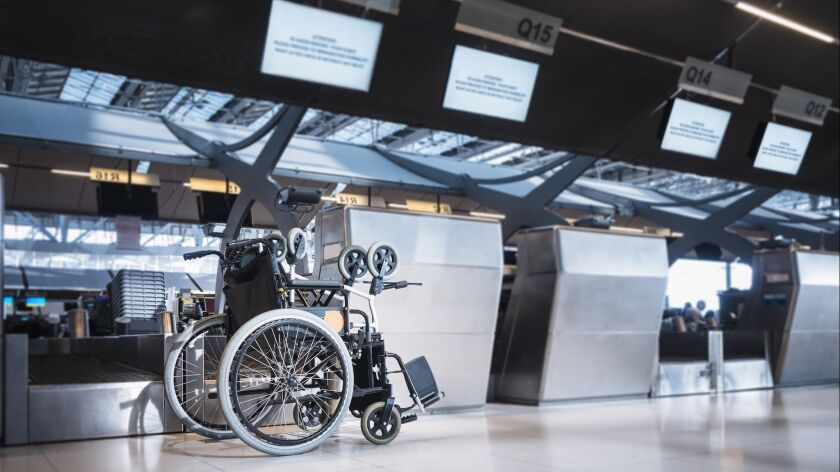 Wheelchair prepare for disability passenger at Airport Check in counter