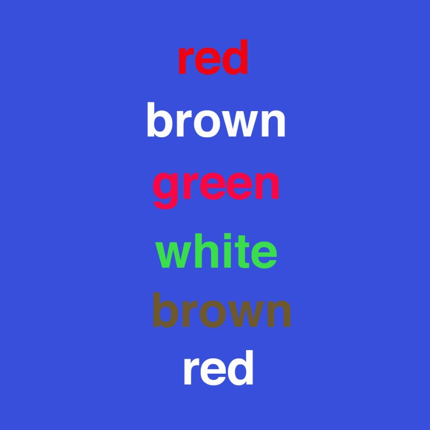 "The Stroop Test measures the ""interference effect,"" or the way that conflicting information can interfere with the brain's performance. Psychologists use this test in clinical settings to evaluate attention, mental flexibility and processing speed: Say aloud each color of each word that you see but not the word you read ..."