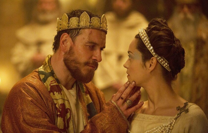 "This photo provided by The Weinstein Company shows, Michael Fassbender, left, as Macbeth, and Marion Cotillard as Lady Macbeth, in a scene from the film, ""Macbeth."" (Jonathan Olley/The Weinstein Company via AP)"