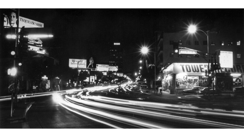 Dec. 13, 1988: The bright lights beckon night visitors to the famous Sunset Strip in the Horn Avenue