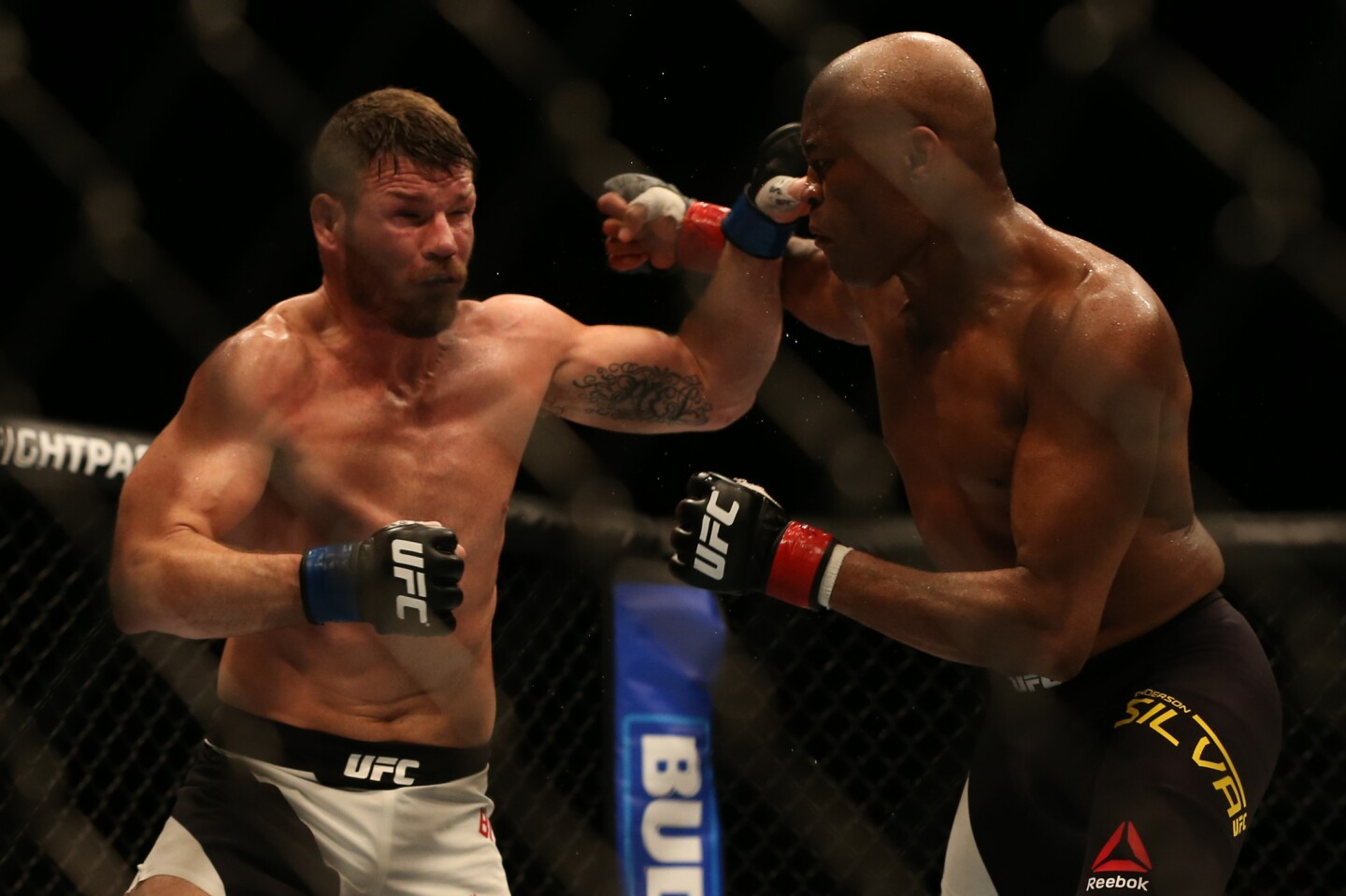 Brazil's Anderson Silva (R) and Great Britain's Michael Bisping (L) in action.