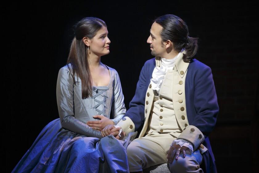 "Phillipa Soo and Lin-Manuel Miranda in ""Hamilton"" at the Richard Rodgers Theatre on Broadway."