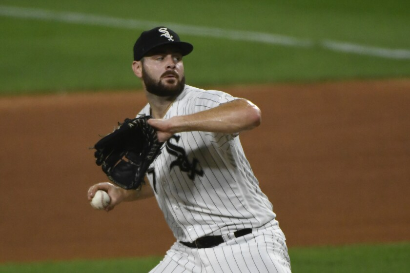 Chicago White Sox pitcher Lucas Giolito delivers against the Pittsburgh Pirates.