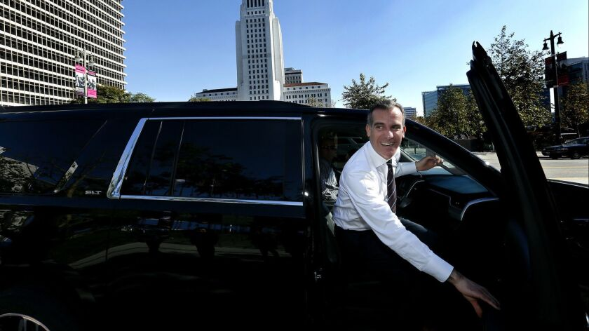 LSO ANGELES, CA-JANUARY 25, 2017: Los Angeles Mayor Eric Garcetti leaves Grand Park in downtown Los