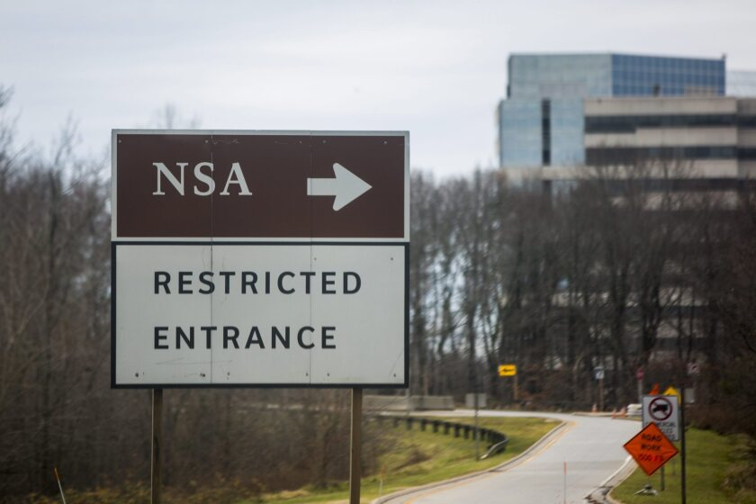 A road sign for the headquarters of the National Security Administration is seen in Fort Meade, Md., on Dec. 22, 2013.