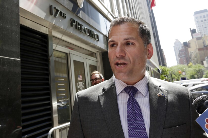 Republican New York gubernatorial candidate Marc Molinaro holds a news conference in August.