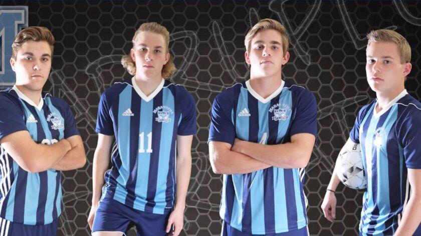 The Maranatha Christian soccer team's Miller quadruplets: (from left) Dawson, Bryson, Austin and Colin. .