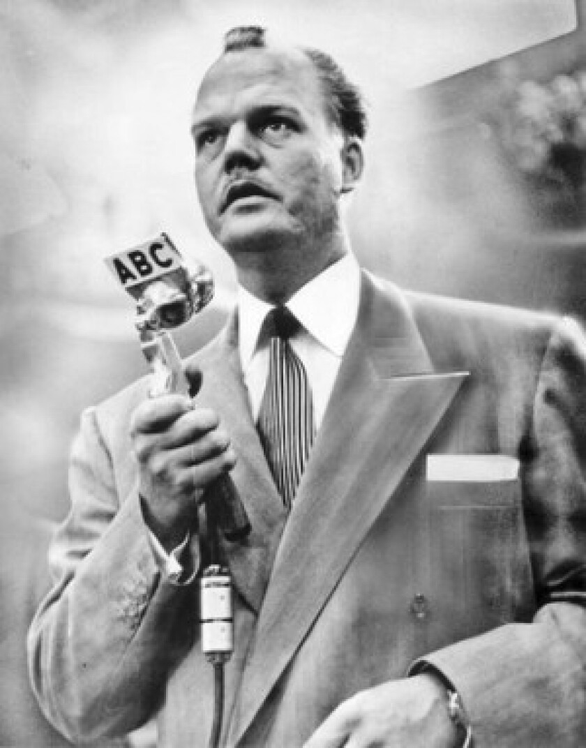 "Radio personality Paul Harvey, seen in 1952, greeted listeners with his trademark telegraphic delivery punctuated by his patented pauses: ""Hello, Americans! This is Paul Harvey! [pause] Stand by for news!"" He'd end each broadcast with his signature: ""Paul Harvey. [long pause] Good day!"""