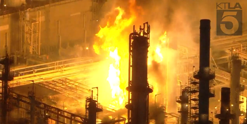 Large fire at Carson refinery sends flames 100 feet into the air; 405 Freeway reopens