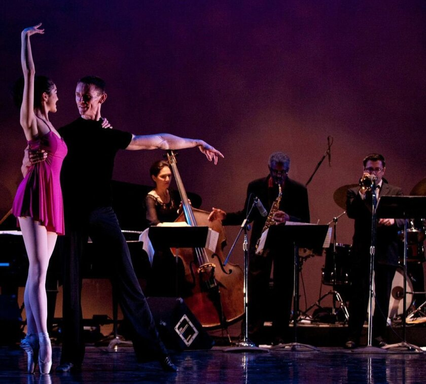 """San Diego Ballet dancers Camille McPherson and Joe Hochschild perform """"Sweet Energy Suite,"""" with live accompaniment by its composer (and Camille's father) Charles McPherson, a famed jazz saxophonist, second from right."""